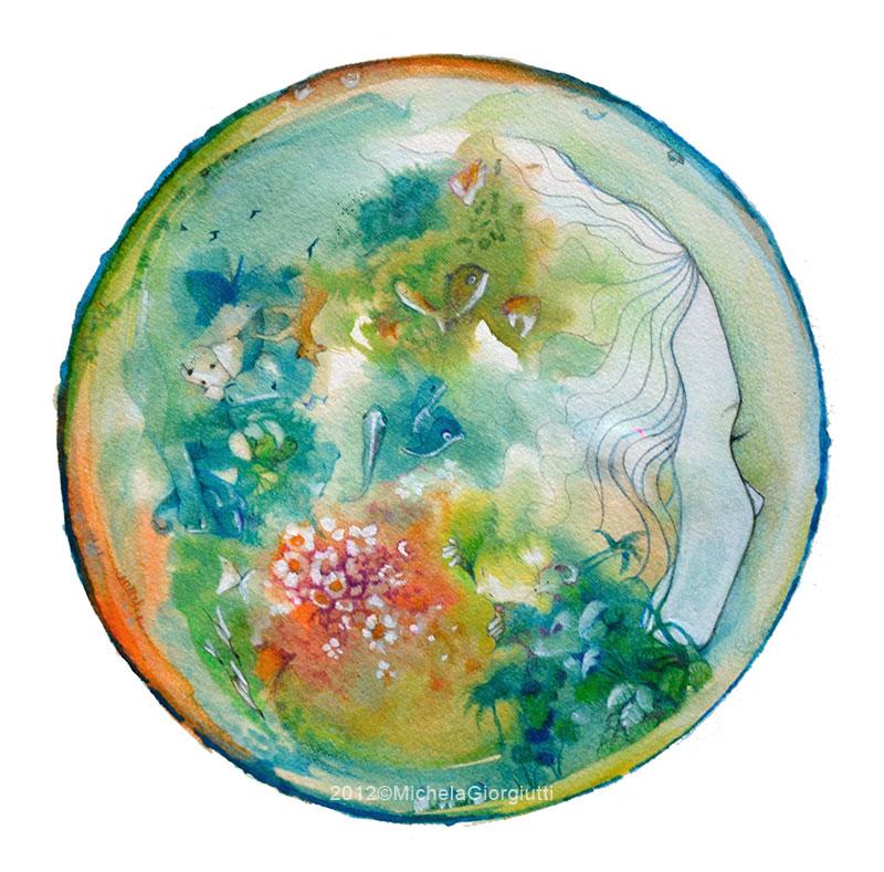 Testa di bambina a forma di bolla che contiene animali piante luoghi del mondo