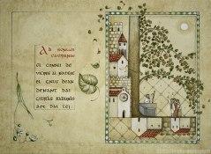 Doppia pagina che richiama un manoscritto medievale con assemblea di persone sotto un tiglio