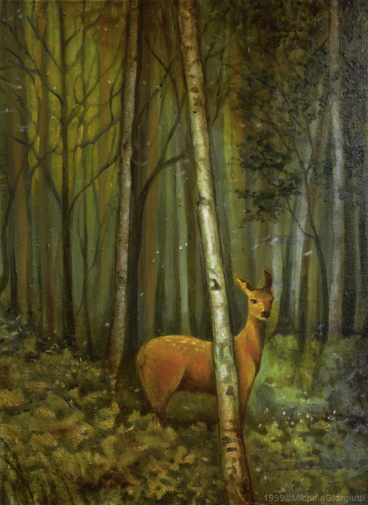 Cerbiatto illuminato da raggio di sole nel bosco