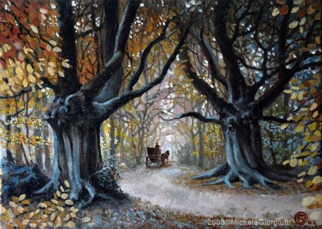 Carrozza nel sentiero del bosco d'autunno con querce