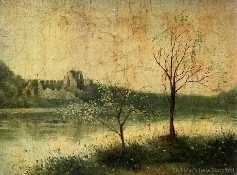 Craquelet con castello sul lago