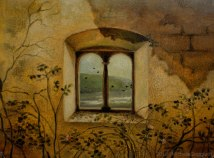 Craquelet delle rovine del castello di Flagogna con finestra in primo piano