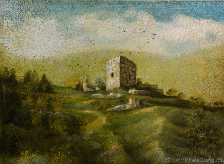 Veduta delle rovine del castello Moscardo Friuli craquelet