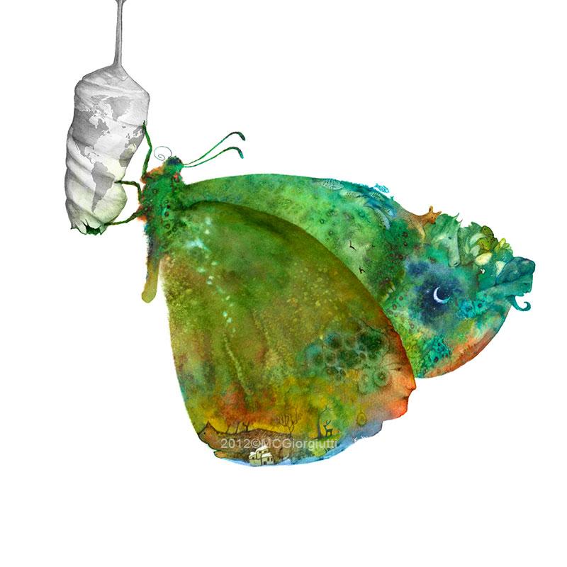 Da un bozzolo a forma di mondo terrestre esce una farfalla coloratissima