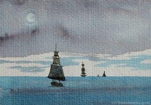 Acquerello con velieri sul mare d'inverno