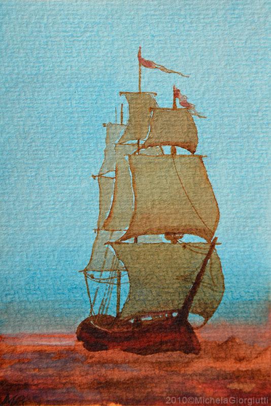 Acquerello con veliero sul mare al tramonto