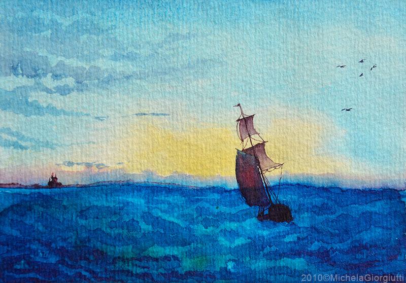 Acquerello di veliero sul mare al tramonto con gabbiani