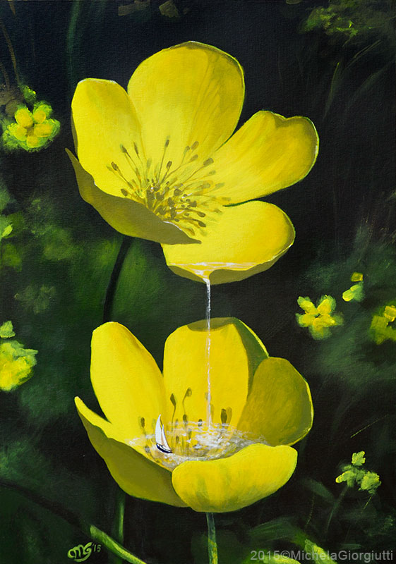 Cascata con barca tra petali di fiore giallo