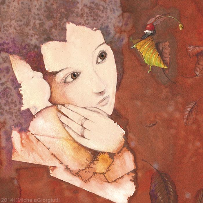 Una ragazza stringe un bambino proteggendolo da un folletto vestito di foglia