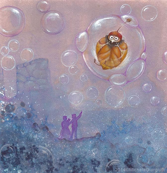 Un folletto vestito di foglia vola via dentro una bolla di sapone