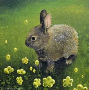 Coniglio che mangia palloncini a forma di fiore