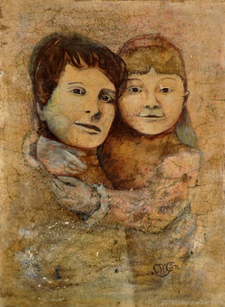 Elaborazione da foto ottocentesca con bambina che abbraccia la mamma