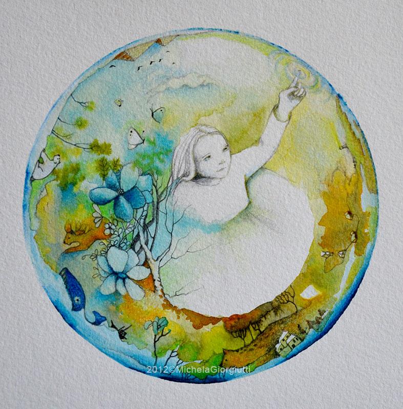 Bambina dentro una bolla che contiene animali e piante