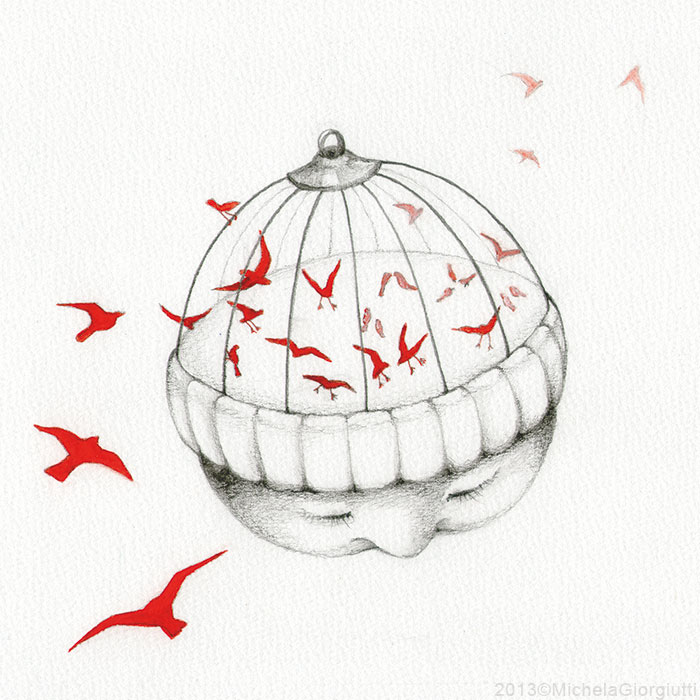 Uccelli rossi che attraversano la testa a forma di gabbia di un bambino
