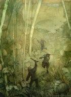 Tre figure armate escono correndo da una foresta tropicale