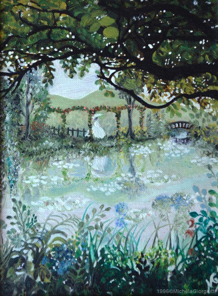 Donna che cammina verso ponte con giardino verde di fiori e lago