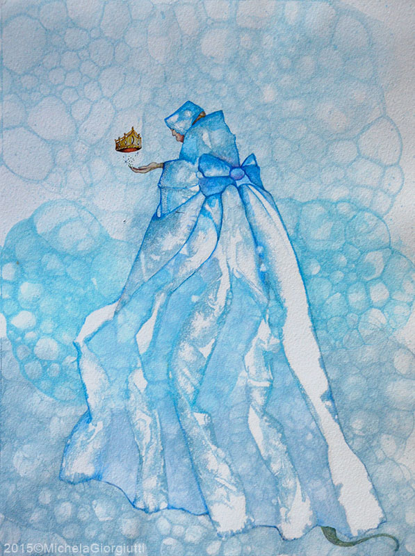 Una strega vestita di blu sorregge una corona d'oro