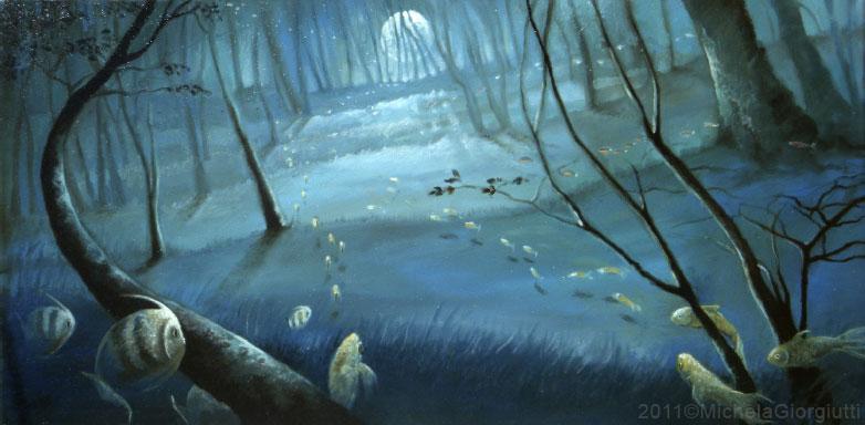 Pesci che nuotano tra gli alberi della foresta blu