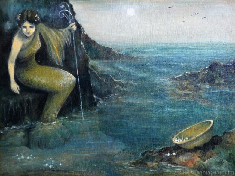 Sirena che raccoglie perle dal fondo del mare