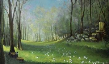 Sedia di legno lungo un sentiero fiorito