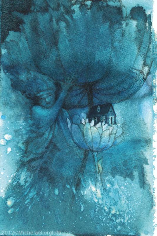 Figura femminile solleva una corolla mostrando un fiore con una casa