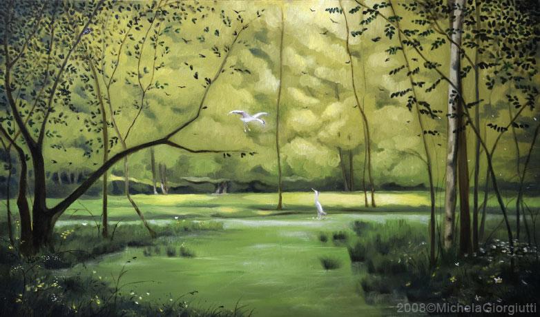 Due aironi cinerini lungo il fiume Cormôr verde