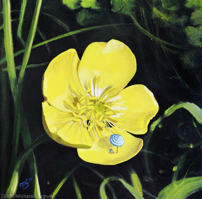 Fiore giallo con mini ombrellone e sdraio all'interno