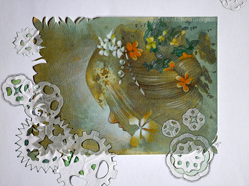 Profilo di donna con acconciatura di perle e fiori