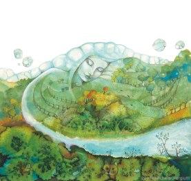 Una donna grande come una montagna si trasforma in fiume che abbraccia la terra