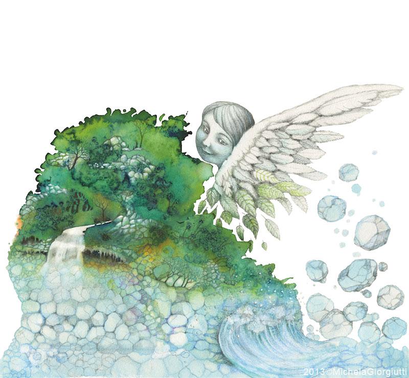 Un angelo perde delle pietre che compongono la riva di un fiume