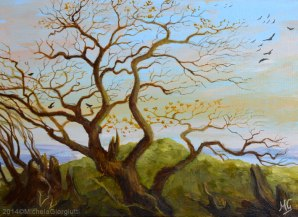 Albero con rami nodosi e corvi all'alba