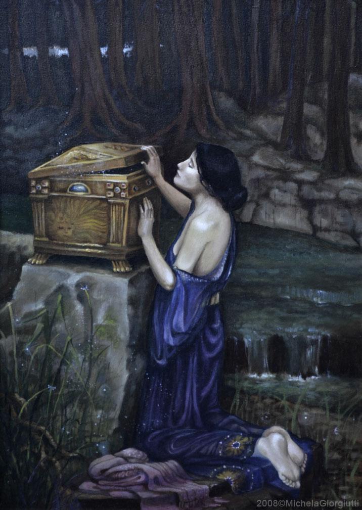 Rielaborazione del quadro Pandora di Waterhouse 1896