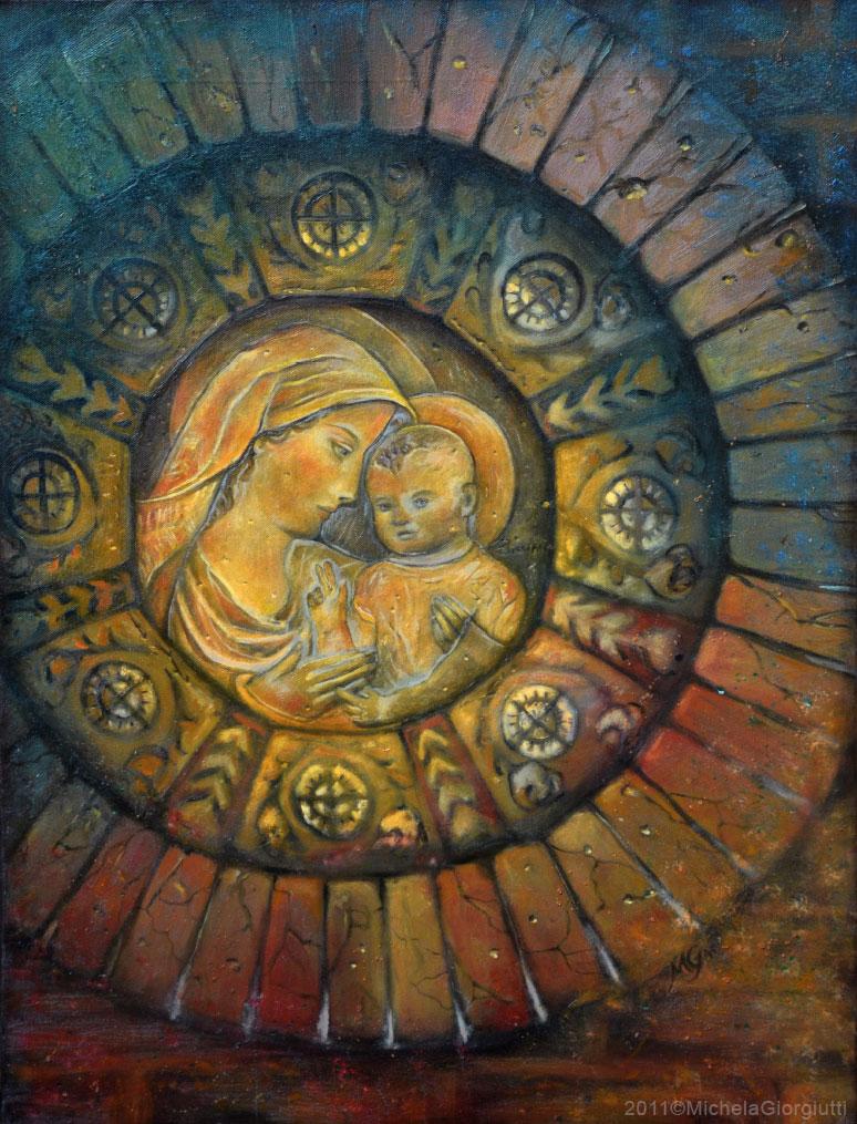 Riproduzione da terracotta originale di Madonna con bambino in cornice floreale