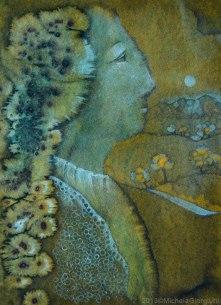 Profilo di dama rinascimentale e paesaggio rupestre sullo sfondo