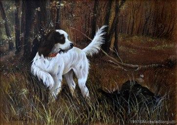 Cane setter bianco in punta a caccia nel bosco con topolino nascosto