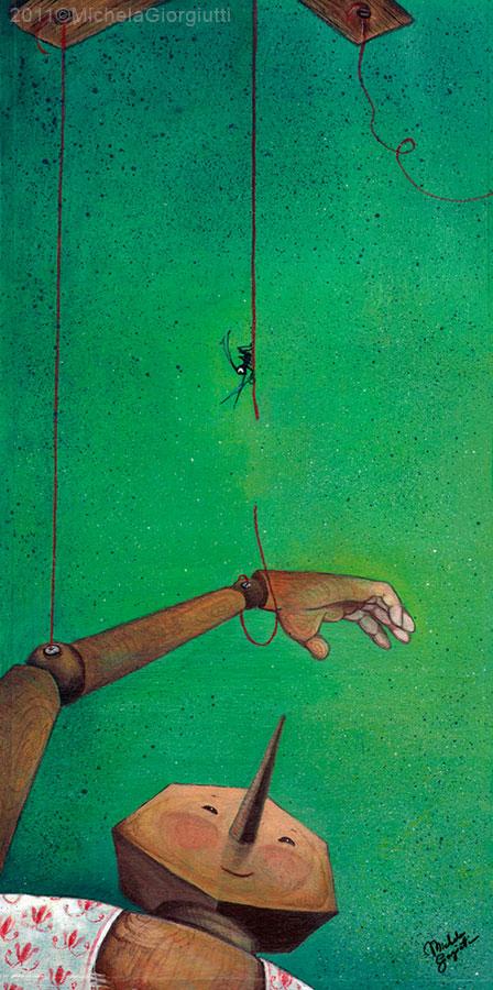 Il grillo coscienza taglia i fili che legano Pinocchio in trasformazione