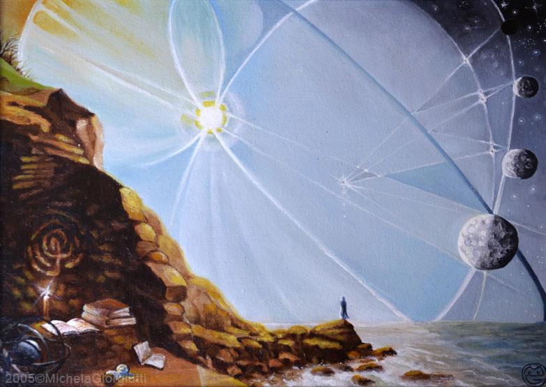 Uomo che osserva orbite dei pianeti dalla scogliera