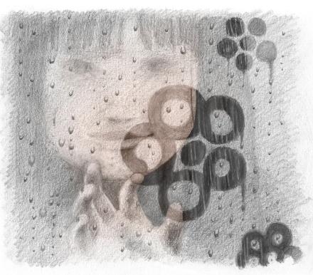 Bambina che disegna con l'indice su vetro appannato