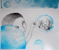 Illustrazione con bambino che fa scoppiare una bolla con dentro la città