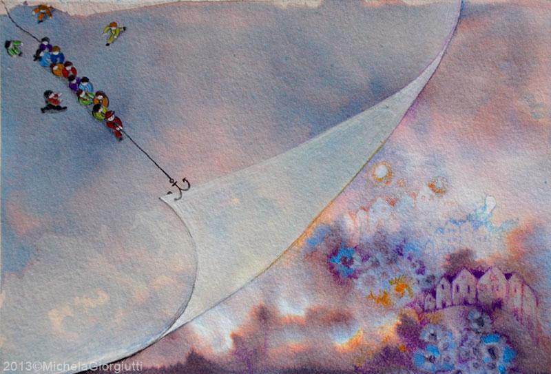 Illustrazione acquerello e matite di persone che sollevano un velo sopra la città