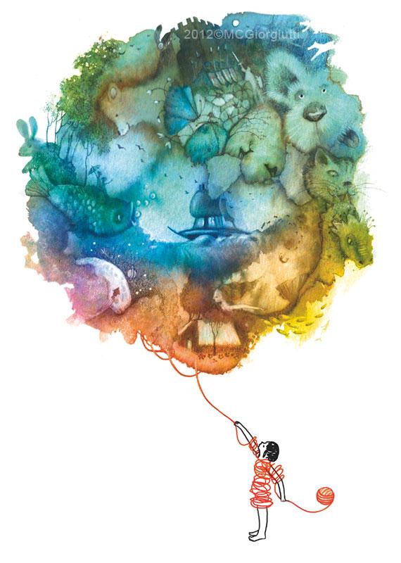 TIG Udine Bambina con gomitolo che diventa mondo incantato fantasy