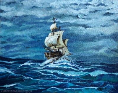Veliero che solca i mari blu agitati dal vento