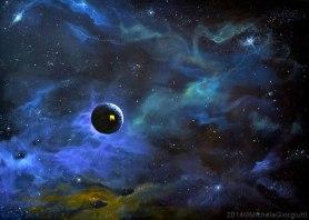 Pianeta casa sospeso in viaggio nello spazio dell'universo