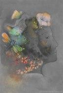 Illustrazione di volto abitato da fiori e animali